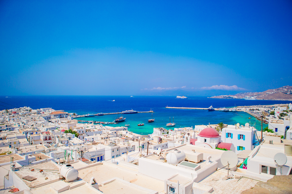ST_Top view of the old city and the sea on the island of Mykonos, Greece