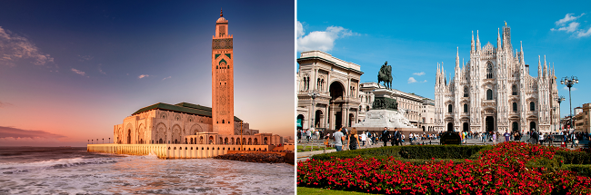2 in 1: Morocco and Italy/ Spain/ Portugal/ Belgium/ Russia from New York from $355!