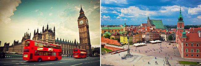2 in 1: London and Warsaw from Boston for $375, from L.A. for $480!