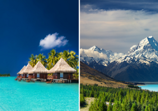 Round the world with Air New Zealand! UK to Singapore or Hong Kong, New Zealand, exotic South Pacific Islands and California from £1074!