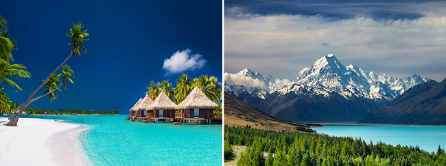HOT! 2 in 1: Los Angeles to both Tahiti and New Zealand for $870!