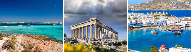 Sardinia, Sicily, Malta, Athens, Mykonos and Crete in one trip from London for £126!