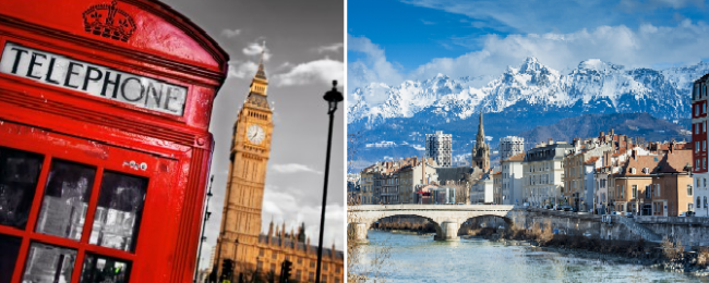 2 in 1: California to London and French Alps for just $329!