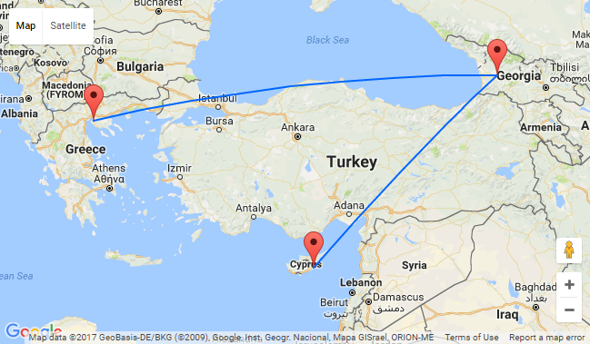 From Greece or Cyprus to Georgia for only 21