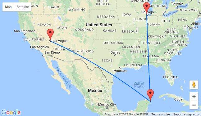 Chicago Or Las Vegas To Cancun Mexico From - Cancun resort las vegas map