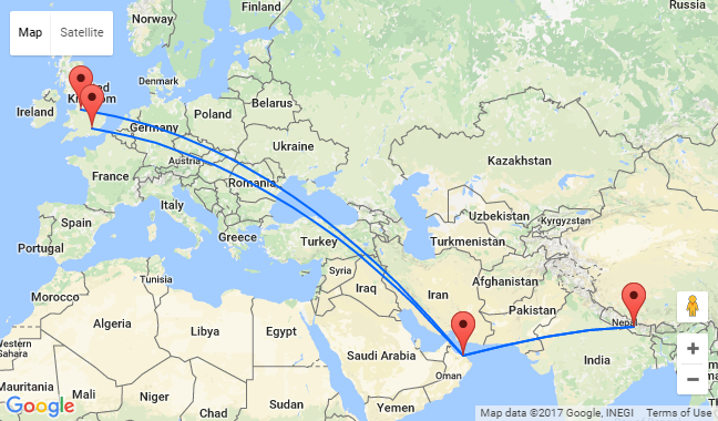 In London Or Manchester To Oman Nepal From Only - London map manchester