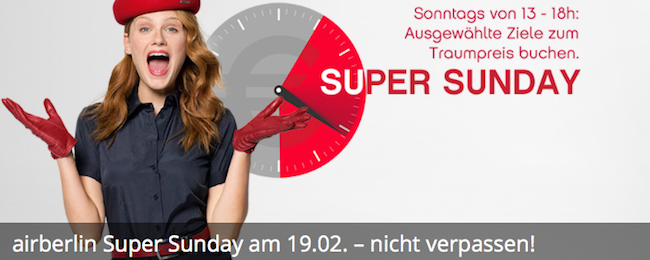 Air Berlin Super Sunday! Flights from Germany or Switzerland to Europe from €36 one-way!