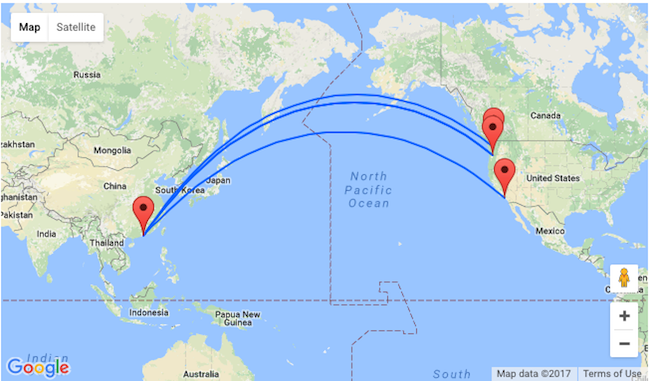 Fly From Hong Kong To USA West Coast From Only - Us to hong kong map