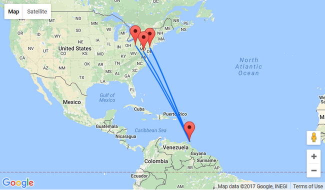 US East Coast To Trinidad And Tobago From Just Also Over NYE - Philadelphia map in usa