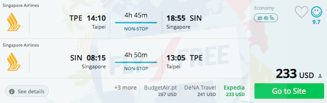 Singapore Airlines: Non-stop from Taipei to Singapore for $233!