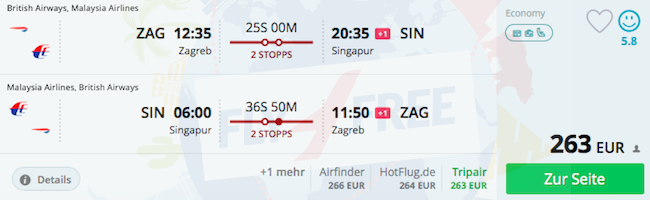 Still working! Croatia to Singapore, Australia or New Zealand from €263!
