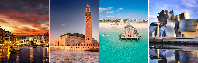 4 in 1: Venice, Casablanca, Cape Verde and Bilbao from London for £281! (No low-cost carriers!)