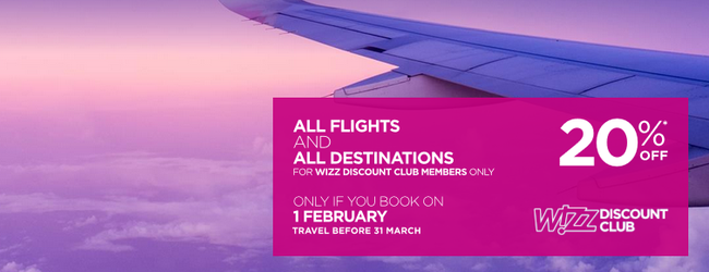 20% off for Wizz Air Discount Club members!