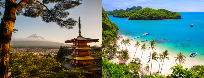 2 in 1: New York or Chicago to Tokyo & Bangkok in one trip for only $561!