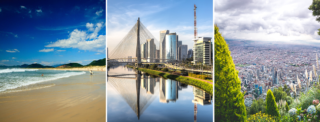 AUGUST! Navegantes + Sao Paulo (both Brazil) and Bogota, Colombia from L.A. for $645!