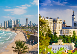 2 in 1: New York to both Tel Aviv, Israel and Madrid, Spain for $564!