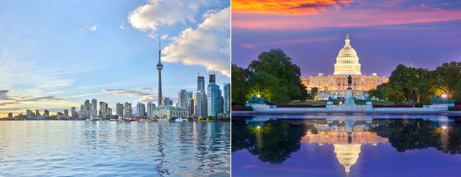 Flights from Dublin to Toronto and Washington from only €232!