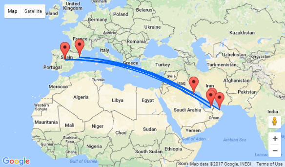 Spain To UAE Kuwait Or Oman From - Map of egypt and uae