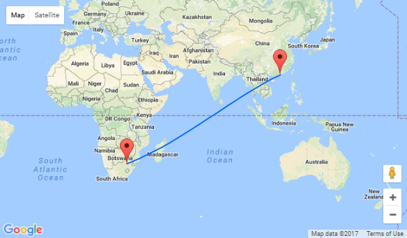 Qatar Airways Hong Kong To South Africa For Only - Johannesburg germany map