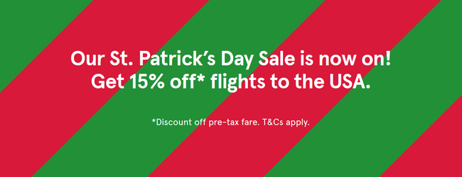 Norwegian St. Patrick's Day Sale: 15% off flights from the UK and Ireland to the USA!