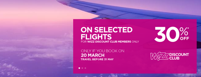 Wizz Air: 30% off for Discount Club members!