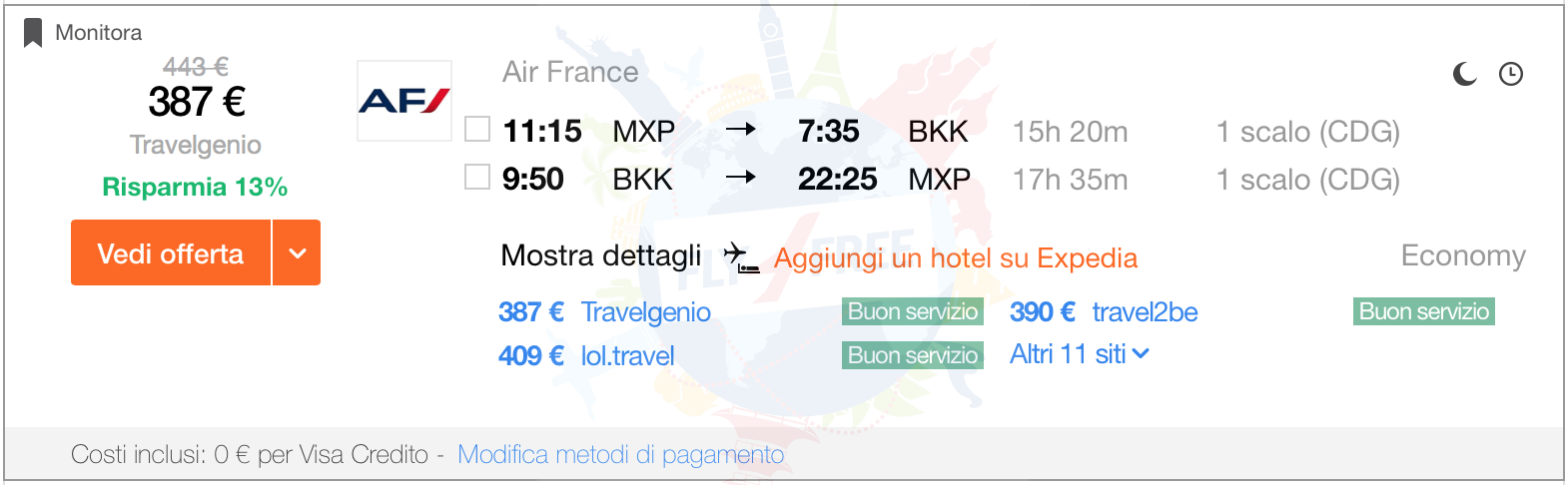 From Italy to Bangkok from €387!