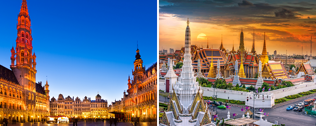 AU cities to Brussels, Belgium from AU$919! Add a stop in Bangkok for AU$23 more!