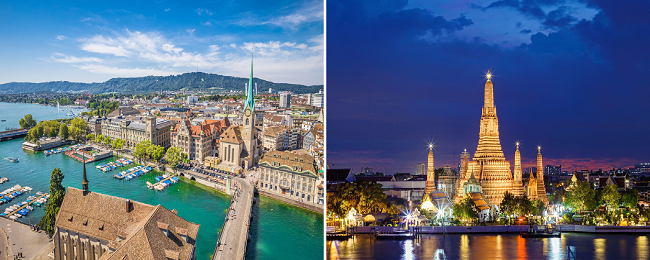 AU cities to Switzerland from AU$947! 2 in 1 with Thailand for AU$107 more!