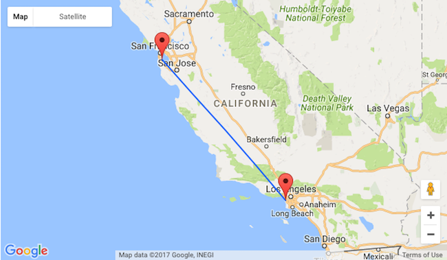 San Francisco To Los Angeles Map.Summer Non Stop Between Los Angeles And San Francisco For Only 89