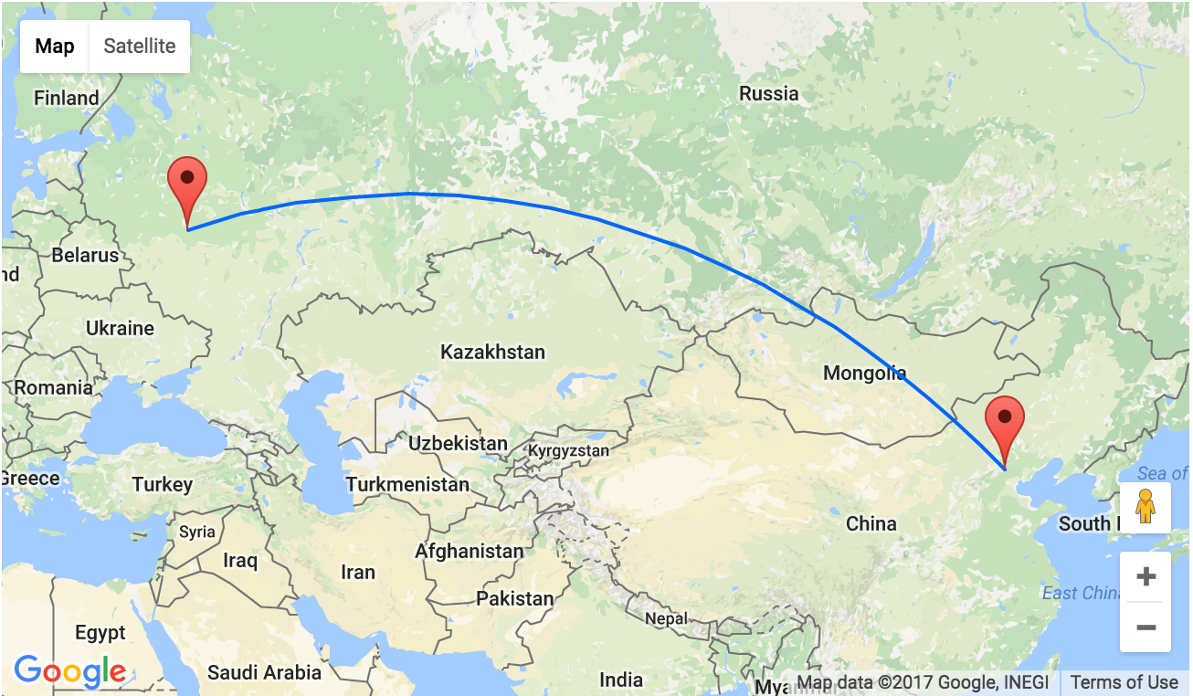 HOT Nonstop From Moscow To Beijing China From Only - Zhukovsky map