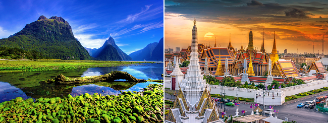 Scandinavia to New Zealand from €641! 2 in 1 with Bangkok for €93 more!