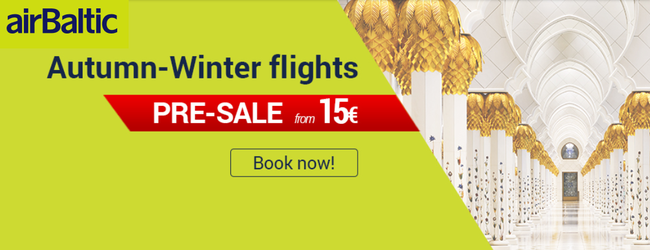 airBaltic Pre-Sale: Flights from only €14 each way!