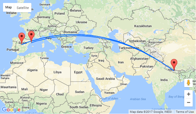 QATAR AIRWAYS Spain To Nepal From Only - Map of qatar and egypt