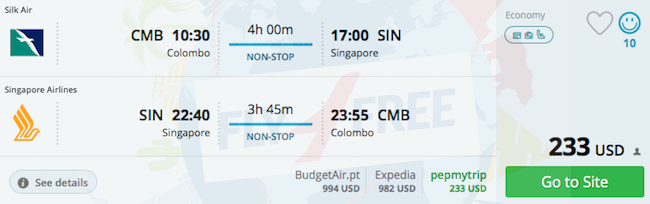 5* Singapore Airlines: From Colombo to Thailand or Singapore from $197!