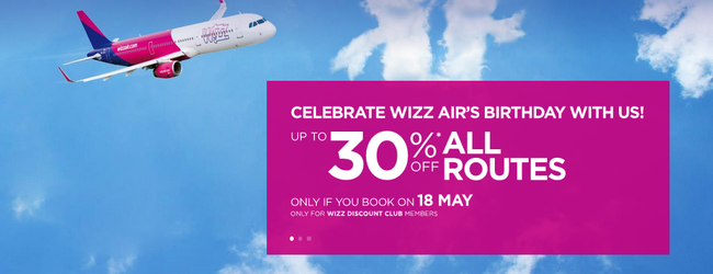 SUMMER: 30% off for Wizz Air Discount Club members!