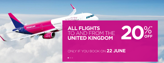 SUMMER: 20% off Wizz Air flights to/from the UK! Open to everybody!