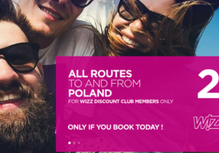 SUMMER: 20% off all routes to/from Poland for Wizz Air Discount Club members!!