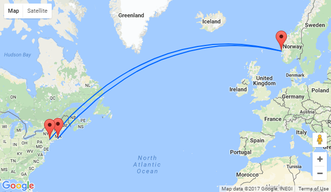 Bergen Norway To East Coast USA Or Vice Versa From Only - Norway to usa map