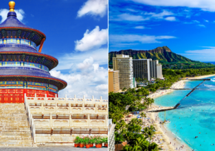 2 IN 1 TRIP: Brussels to Beijing & Hawaii for only €576!