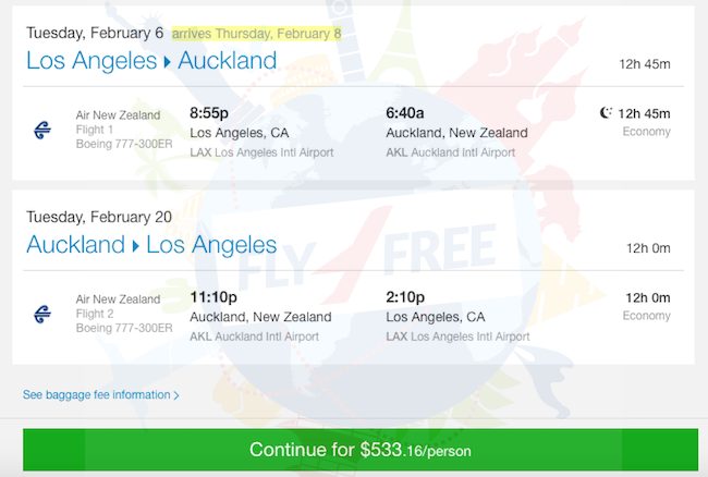 ERROR FARE: Non-stop from Los Angeles to New Zealand for