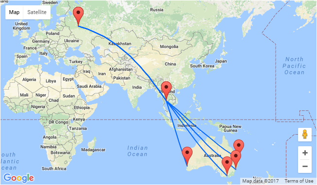 AU Cities To Moscow Russia From AU Stopover In Bangkok Possible - Moscow russia on world map