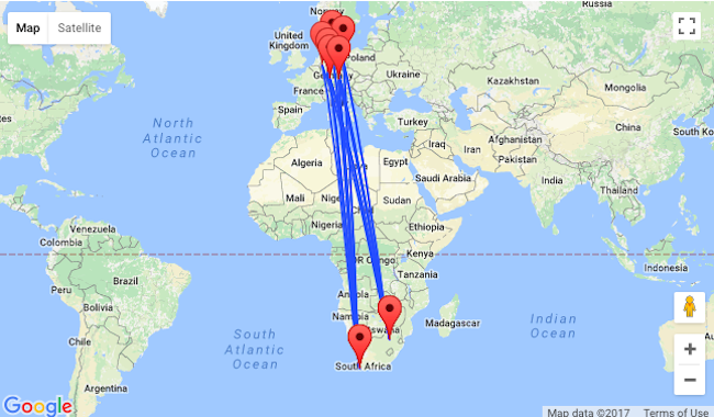 Germany To Johannesburg Or Cape Town South Africa From Only - Johannesburg germany map