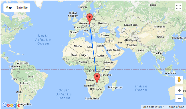 Vienna To Livingstone Zambia Victoria Falls For Only - Where is zambia
