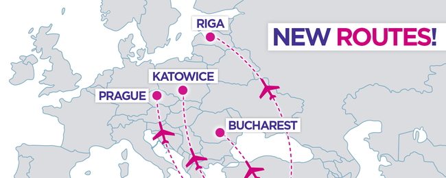 Wizz Air: New routes from Eilat (Ovda) to Riga, Katowice, Prague and Bucharest!
