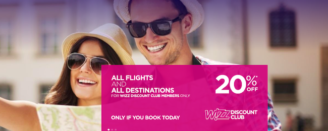Wizz Air: 20% off for Discount Club members!