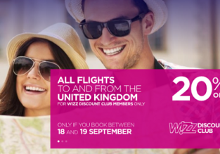 Wizzair: 20% off all flights from/ to UK for WDC members! London to Georgia for only £30!