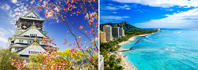 2 in 1 trip: Germany to both Japan and Hawaii for only €498!