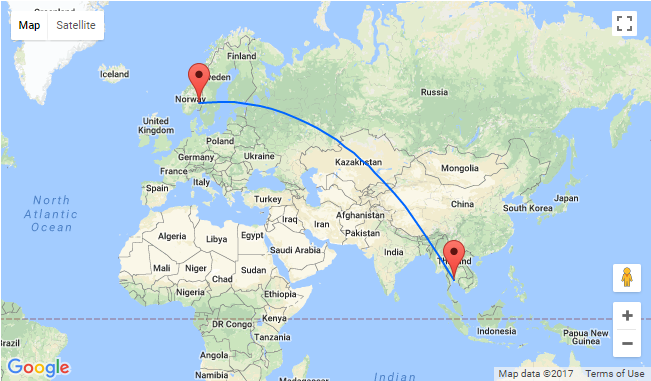 Oslo To Bangkok Thailand For Only 355