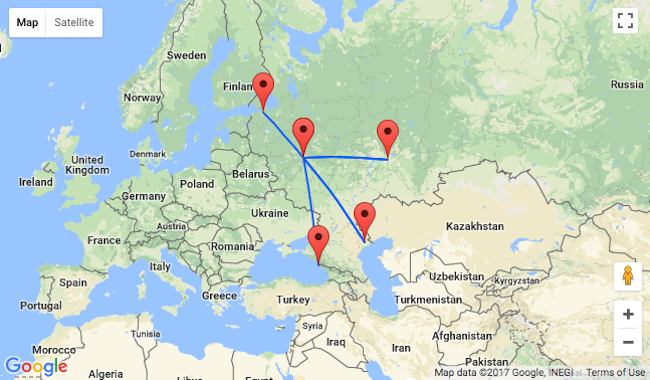 Moscow To Several Russian Cities And Vice Versa For Only - Map of russian cities
