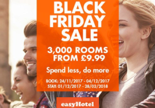 easyHotel Black Friday Sale 2017! Over 3000 rooms available from £9.99 (£4.99 per person)!